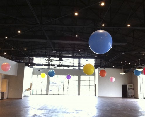 gaint balloons 3' in ceiling